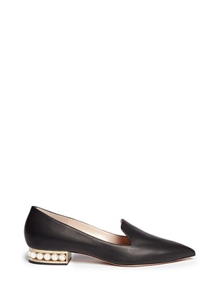 Main View - Click To Enlarge - Nicholas Kirkwood - 'Casati' faux pearl heel leather skimmer loafers