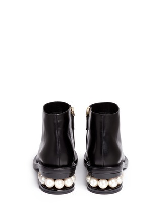 Back View - Click To Enlarge - Nicholas Kirkwood - 'Casati' faux pearl heel leather ankle boots
