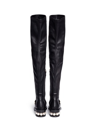 Back View - Click To Enlarge - NICHOLAS KIRKWOOD - Faux pearl heel thigh high leather boots