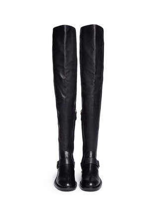 Front View - Click To Enlarge - NICHOLAS KIRKWOOD - Faux pearl heel thigh high leather boots