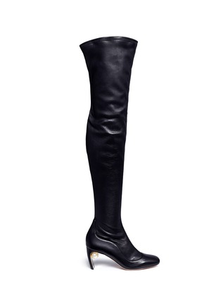 Main View - Click To Enlarge - Nicholas Kirkwood - Faux pearl stretch leather thigh high boots