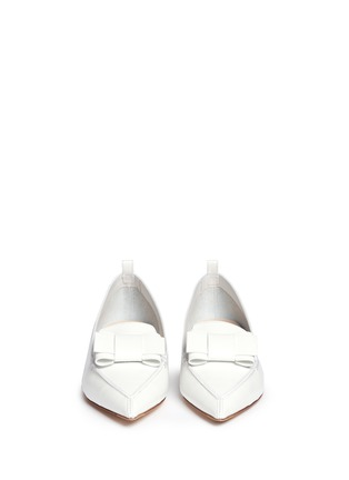 Front View - Click To Enlarge - Nicholas Kirkwood - 'Beya' bow metal heel leather skimmer loafers