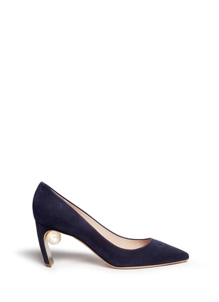 Main View - Click To Enlarge - Nicholas Kirkwood - 'Maeva' faux pearl heel suede pumps