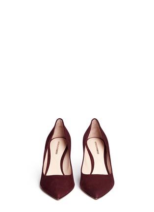 Front View - Click To Enlarge - Nicholas Kirkwood - 'Maeva' faux pearl heel suede pumps