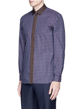 Front View - Click To Enlarge - Canali - Gingham check cotton shirt