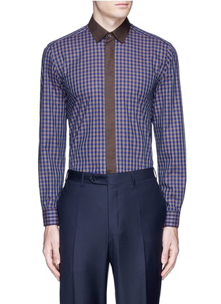 Main View - Click To Enlarge - Canali - Gingham check cotton shirt