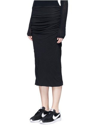 Front View - Click To Enlarge - James Perse - Shirred cotton jersey tube skirt