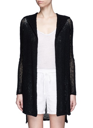 Main View - Click To Enlarge - James Perse - Cotton-linen high gauge knit hood cardigan