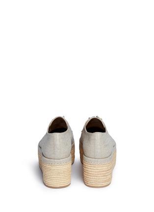 Back View - Click To Enlarge - Stuart Weitzman - 'Kent' raffia platform linen Oxfords