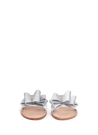 Front View - Click To Enlarge - Kate Spade - 'Cicely' glitter bow leather slide sandals