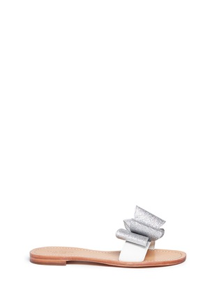 Main View - Click To Enlarge - Kate Spade - 'Cicely' glitter bow leather slide sandals