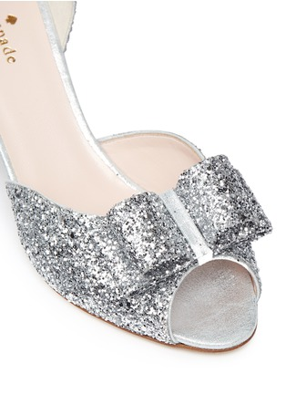 Detail View - Click To Enlarge - Kate Spade - 'Sela' bow glitter peep toe pumps