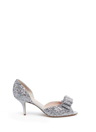 Main View - Click To Enlarge - Kate Spade - 'Sela' bow glitter peep toe pumps