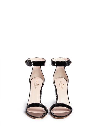 Front View - Click To Enlarge - KATE SPADE - 'Idelle' floral cutout heel patent leather sandals