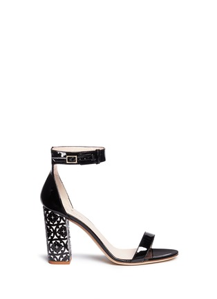 Main View - Click To Enlarge - KATE SPADE - 'Idelle' floral cutout heel patent leather sandals