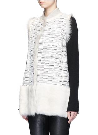 Front View - Click To Enlarge - KARL DONOGHUE - Reversible stripe print lambskin shearling gilet
