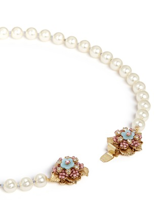 Detail View - Click To Enlarge - MIRIAM HASKELL - Crystal floral clasp glass pearl necklace