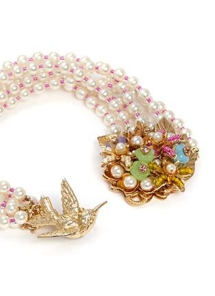 Detail View - Click To Enlarge - Miriam Haskell - Bird bouquet multi strand glass pearl bracelet
