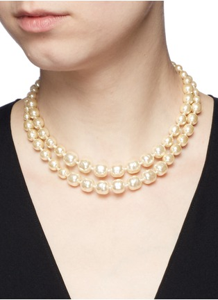 Figure View - Click To Enlarge - Miriam Haskell - Bird clasp two strand Baroque pearl choker necklace