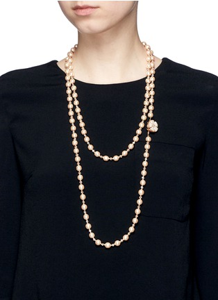 Figure View - Click To Enlarge - Miriam Haskell - Baroque glass pearl crystal strand necklace