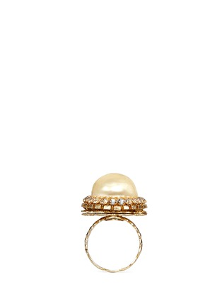 Figure View - Click To Enlarge - MIRIAM HASKELL - Baroque glass pearl crystal oval filigree ring