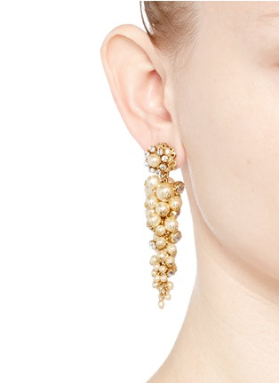 Figure View - Click To Enlarge - Miriam Haskell - Crystal glass pearl drop earrings