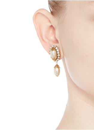 Figure View - Click To Enlarge - MIRIAM HASKELL - Swarovski crystal glass pearl drop earrings