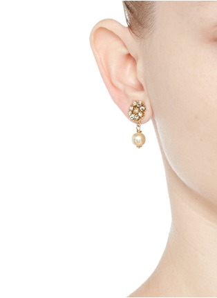 Figure View - Click To Enlarge - Miriam Haskell - Crystal glass pearl drop floral earrings