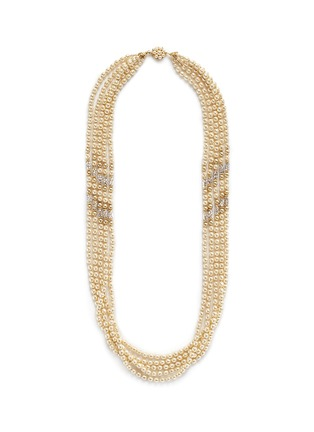 Main View - Click To Enlarge - Miriam Haskell - Swarovski crystal Baroque pearl multi strand necklace