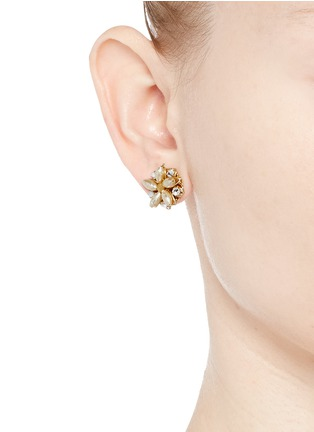 Figure View - Click To Enlarge - Miriam Haskell - Crystal glass pearl floral stud earrings