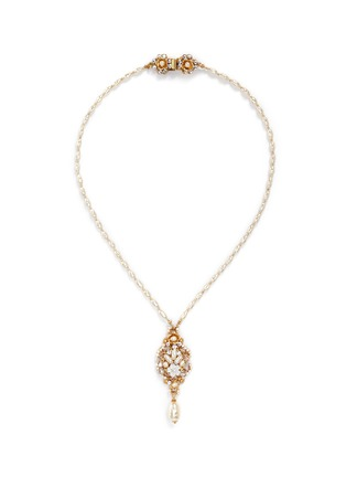 Main View - Click To Enlarge - Miriam Haskell - Swarovski crystal glass pearl pendant necklace