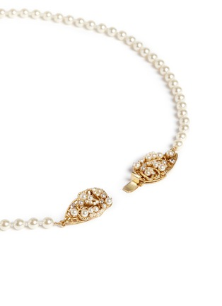Detail View - Click To Enlarge - Miriam Haskell - Swarovski crystal glass pearl leaf clasp necklace
