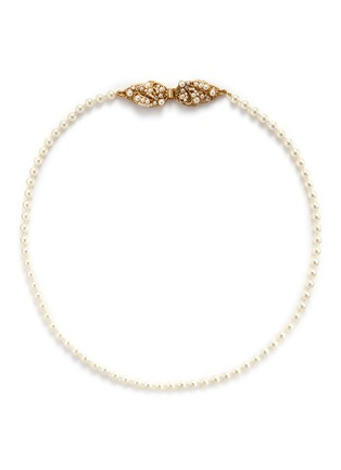 Main View - Click To Enlarge - Miriam Haskell - Swarovski crystal glass pearl leaf clasp necklace