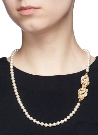 Figure View - Click To Enlarge - Miriam Haskell - Swarovski crystal glass pearl leaf clasp necklace