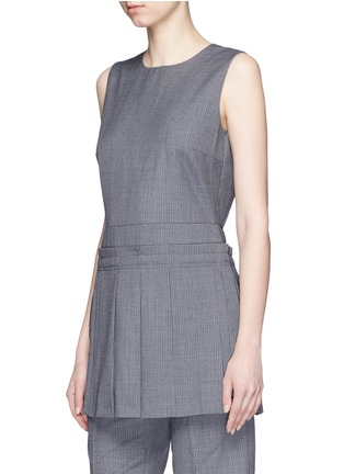 Front View - Click To Enlarge - Dkny - Asymmetric pleat overlay pinstripe sleeveless top
