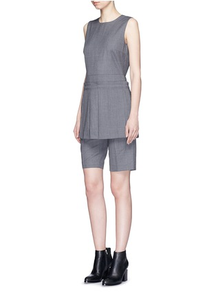 Figure View - Click To Enlarge - Dkny - Asymmetric pleat overlay pinstripe sleeveless top