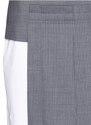 Detail View - Click To Enlarge - Dkny - Asymmetric pleat overlay sleeveless pinstripe dress