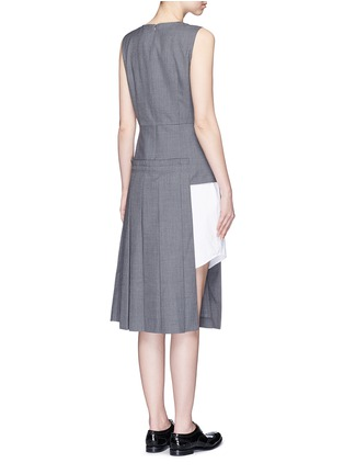 Back View - Click To Enlarge - Dkny - Asymmetric pleat overlay sleeveless pinstripe dress