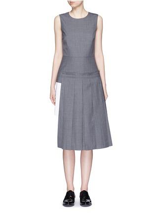 Main View - Click To Enlarge - Dkny - Asymmetric pleat overlay sleeveless pinstripe dress