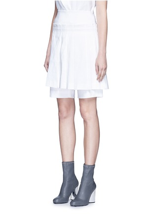 Front View - Click To Enlarge - Dkny - Inverted pleat linen skirt belt