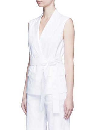Front View - Click To Enlarge - Dkny - Open back tie waist tailored vest