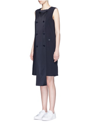 Front View - Click To Enlarge - Dkny - Button front panel pinstripe shift dress