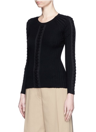 Front View - Click To Enlarge - Alexander Wang  - Flightsuit lacing engineered rib knit sweater