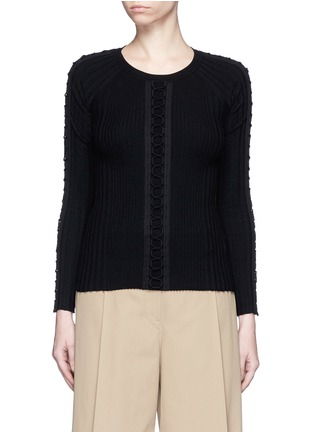 Main View - Click To Enlarge - Alexander Wang  - Flightsuit lacing engineered rib knit sweater