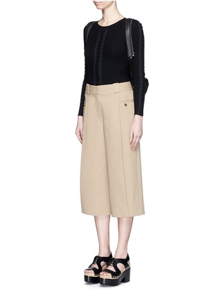 Figure View - Click To Enlarge - Alexander Wang  - Flightsuit lacing engineered rib knit sweater