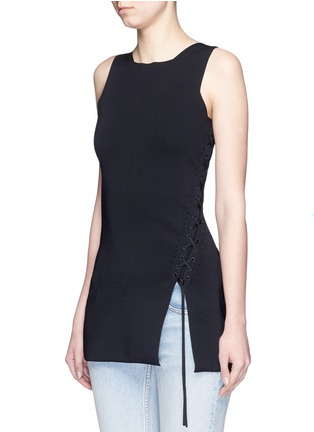 Front View - Click To Enlarge - Alexander Wang  - Asymmetric lace-up knit top