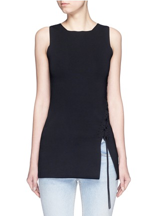 Main View - Click To Enlarge - Alexander Wang  - Asymmetric lace-up knit top