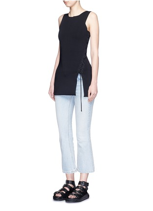 Figure View - Click To Enlarge - Alexander Wang  - Asymmetric lace-up knit top