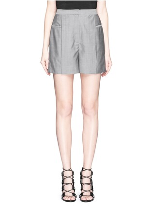 Main View - Click To Enlarge - Alexander Wang  - Pleated front wool-mohair shorts