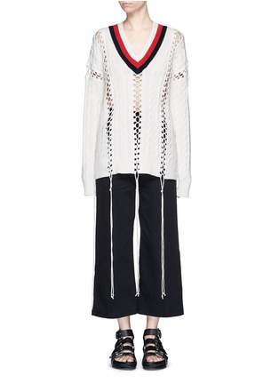 Main View - Click To Enlarge - alexanderwang - Flightsuit lacing cricket cable sweater